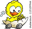 Hand-drawn Vector illustration of an cute baby chicken driving in a eggshell - stock photo