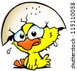 Hand-drawn Vector illustration of an cute unhappy baby chicken - stock photo