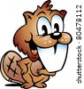 Hand-drawn Vector illustration of an Happy Beaver - stock vector