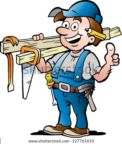 Hand-drawn Vector illustration of an Happy Carpenter Handyman - stock vector