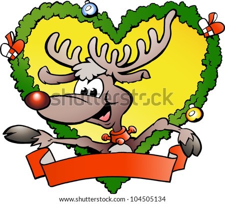 Hand-drawn Vector illustration of an happy christmas reindeer - stock vector