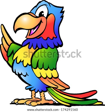 Hand-drawn Vector illustration of an Happy Colorful Parrot - stock vector