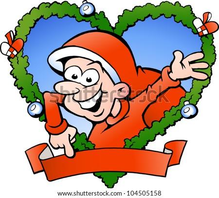 Hand-drawn Vector illustration of an happy santa boy - stock vector