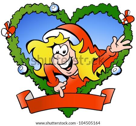 Hand-drawn Vector illustration of an happy santa girl - stock vector