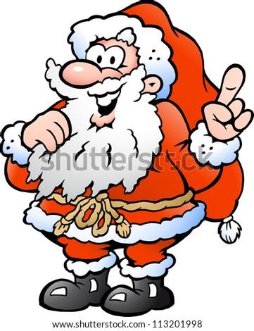 Hand-drawn Vector illustration of an Happy Santa Pointing - stock vector