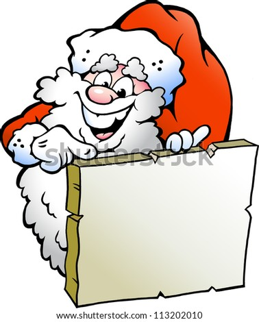 Hand-drawn Vector illustration of an Happy Santa pointing to a sign - stock vector