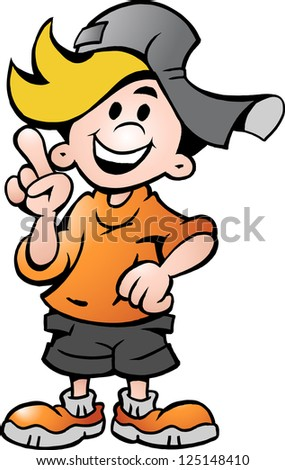 Hand-drawn Vector illustration of an happy School Boy Pointing - stock vector