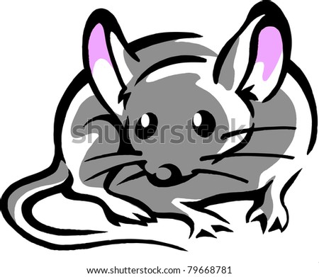 Hand-drawn Vector illustration of an Mouse with big pink ears
