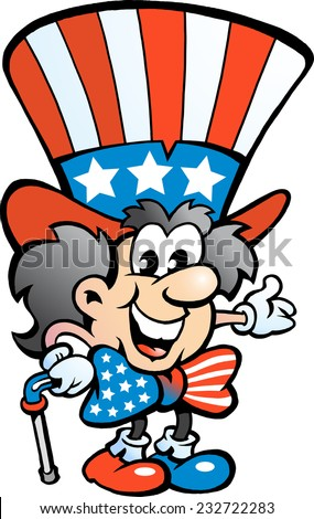 Hand-drawn Vector illustration of an Old Happy Uncle Sam