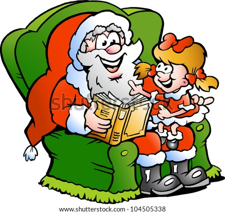 Hand-drawn Vector illustration of an Santa Claus tells a story to an little girl - stock vector