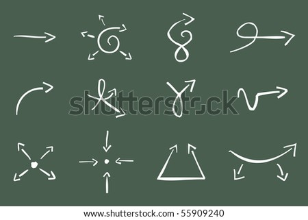 Hand Drawn Vector Illustration of 12  Arrows