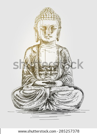 Hand drawn vector illustration of Buddha - stock vector