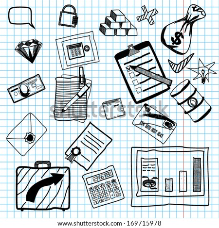 Hand drawn vector illustration of business doodles