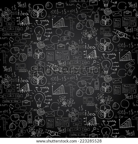 Hand drawn vector illustration of business strategy, brainstorming and website development doodles elements - stock vector