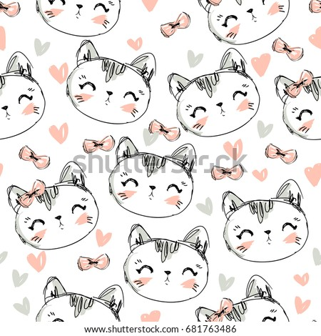 hand drawn vector illustration cute cat stock vector