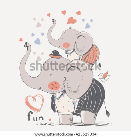 hand drawn vector illustration of cute  elephants family/ father and son - stock vector