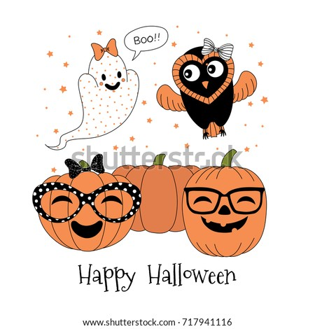 Hand Drawn Vector Illustration Of Cute Funny Pumpkins In Glasses, Ghost  With A Bow Saying