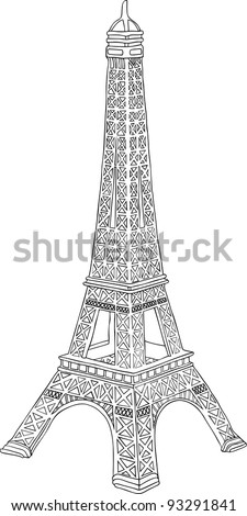 Hand drawn vector illustration of Eiffel tower in Paris, France