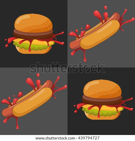Hand drawn vector illustration of Ground Burger and hot dog with various ingredients: bun with sesame seeds, tomatoes, ketchup, cheese and meat cutlet