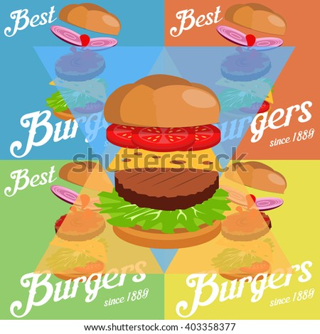 Hand drawn vector illustration of Ground Burger with various ingredients: onions, salad, bun with sesame seeds, tomatoes, cheese, ketchup and meat cutlet