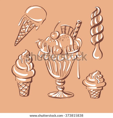 Hand drawn vector illustration of ice cream collection  with glint. Vintage template for business card, poster and banner. - stock vector