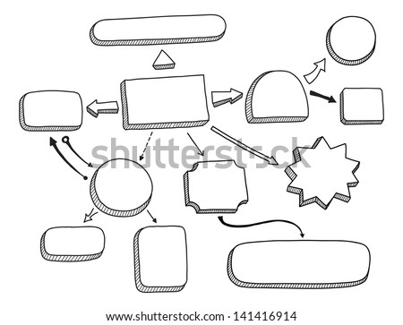 Hand drawn vector illustration of mind map or flow chart with space for your text. Isolated on white background - stock vector