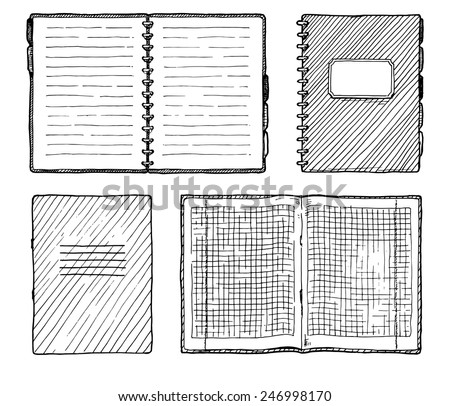 Hand drawn vector illustration of notebooks set.  - stock vector