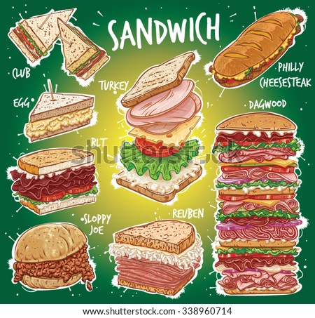 Hand drawn vector illustration of 8 popular All American Sandwich varieties; Club, Clubhouse, Egg, BLT, Bacon, Turkey, Reuben, Philly Cheese Steak, Philadelphia Cheese Steak, Dagwood Sandwich. - stock vector