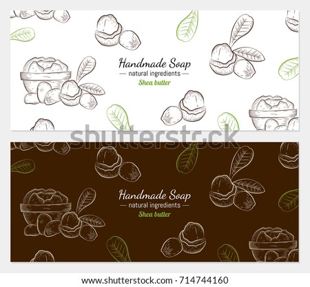 Hand drawn vector illustration of shea butter on white and color background for handmade soap wrapper. Organic natural healthy product. Great for banner, poster, label, package, wrapper