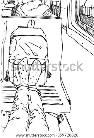 Hand drawn vector illustration of traveller with backpack inside train with landscape from window. Touristic sketch of legs . On the road. Black and white