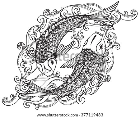 Hand Drawn Vector Illustration Of Two Koi Fishes Japanese Carp With Waves Symbol