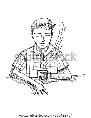 Hand drawn vector illustration or drawing of a reflecting man drinking coffee
