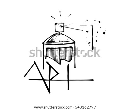Hand drawn vector illustration drawing spray stock vector hand drawn vector illustration or drawing of a spray paint can and the word art ccuart Image collections