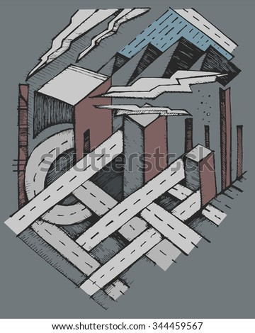 Hand drawn vector illustration or drawing of gray city full of streets, buildings and smog