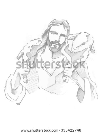 Hand drawn vector illustration or drawing of Jesus Good Shepherd - stock vector