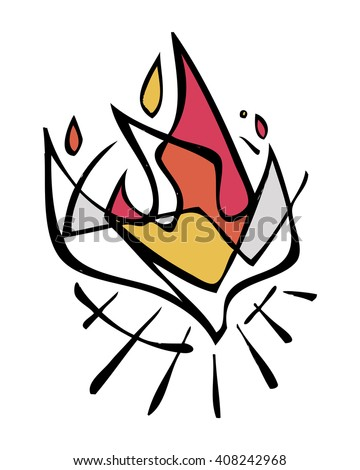 Hand drawn vector illustration or drawing of the Holy Spirit - stock vector