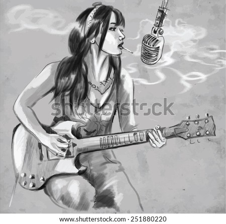 Hand drawn vector illustration. Series of Smoking: Woman smoking cigarette and playing Guitar. Drawing comprise four layers of lines, the colored background is isolated. Editable in layers and groups. - stock vector