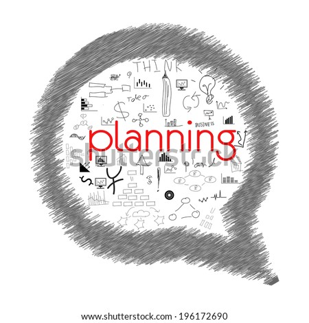 Hand drawn vector illustration set of business planning - stock vector