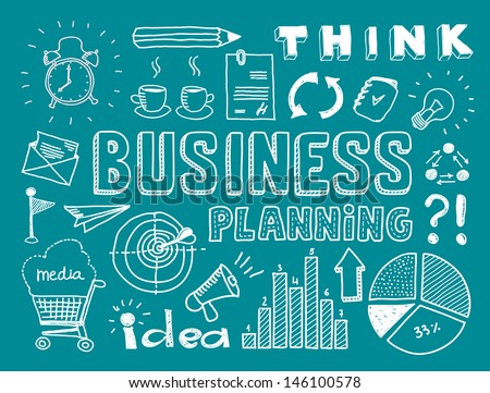 Hand drawn vector illustration set of business planning doodles elements. Isolated on teal background - stock vector
