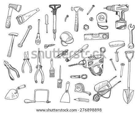 Hand drawn vector illustration set of construction tool  sign and symbol doodles elements.  - stock vector