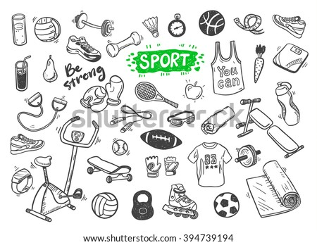 Hand drawn vector illustration set of fitness and sport sign and symbol doodles elements.  - stock vector