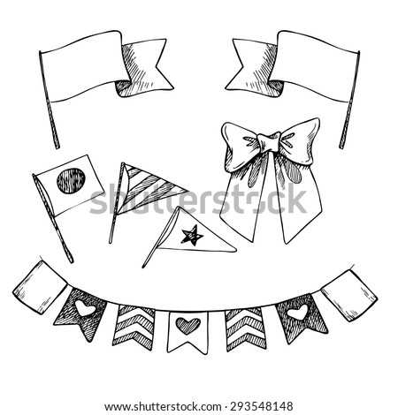 Hand drawn vector illustration - set of flags and ribbons. Design elements for creation cards, posters, invitations - stock vector