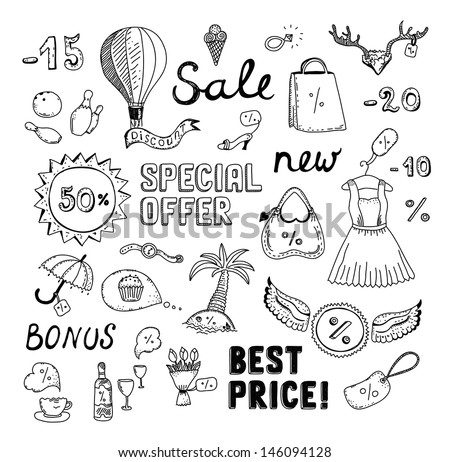 Hand drawn vector illustration set of sales and discount savings doodle elements. Isolated on white background. - stock vector