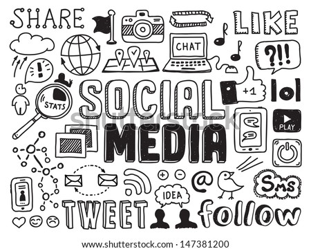 Hand drawn vector illustration set of social media sign and symbol doodles elements. Isolated on white background