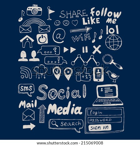 Hand drawn vector illustration set of social media sign and symbol doodles elements. Isolated on dark background - stock vector
