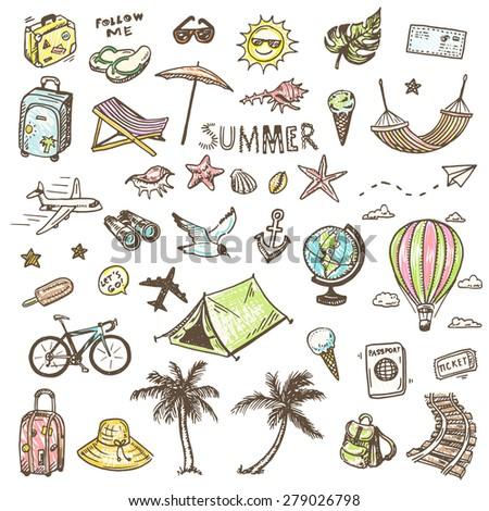 Hand drawn vector illustration set of travel and summer vacation sign and symbol doodles elements.