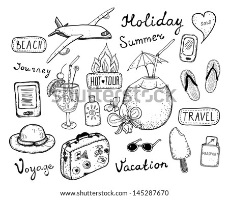 Hand drawn vector illustration set of travel, tourism and summer doodles elements. Isolated on white background - stock vector