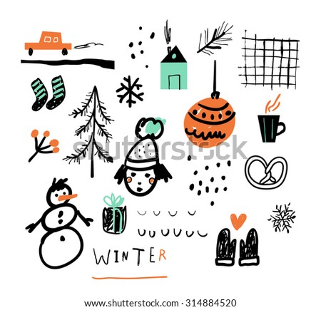 Hand drawn vector illustration set of winter doodles elements. Isolated on white background. - stock vector