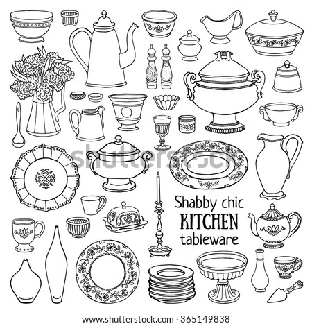 Hand drawn vector illustration shabby-chic kitchen set. Black and white sketch of dishes isolated on white background - stock vector