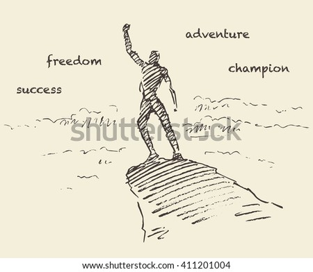 Hand drawn vector illustration, silhouette of a man on top of a hill, winner concept, sketch  - stock vector